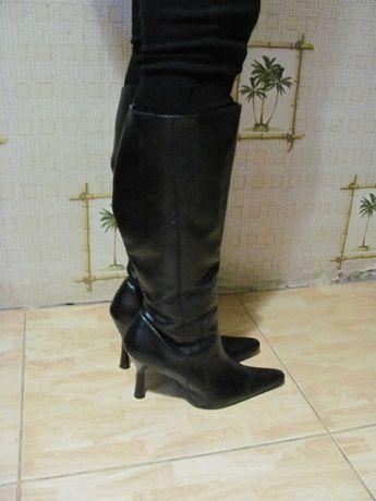 Сапожки женские кожаные, осенние, б/у, размер 37