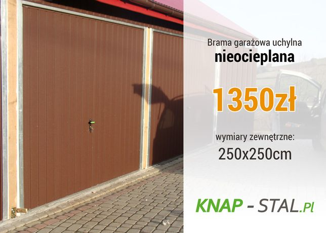 Brama Uchylna w kolorze BRĄZ - 2.5x2.5m - KNAPSTAL Bramy Garażowe