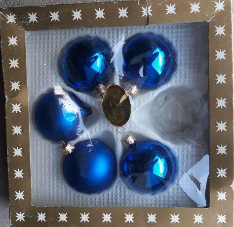 Szklane bombki choinkowe niebieske, 5 szt. Austria