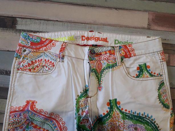 Spodnie Desigual białe etno wzory kolorowe tanie rozm. L