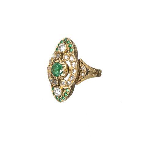 Anel Ouro Esmeraldas