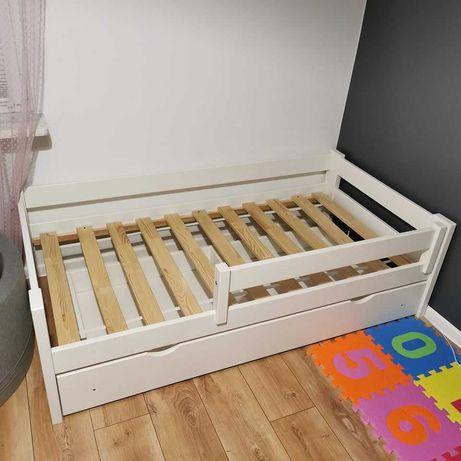 Łóżko 160x80 z szufladą dla dziecka, białe łóżeczko dziecięce Pawełek
