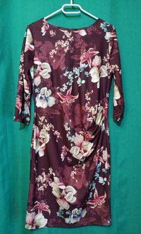 Sukienka bordowa - kwiaty - rozmiar 40 - idealna na wiosnę!