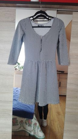 Sinsay czarna sukienka rozkloszowana kropki groszki retro pin up xs 34