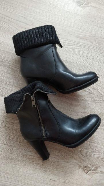 Botki z zamkiem czarne eleganckie 39-40