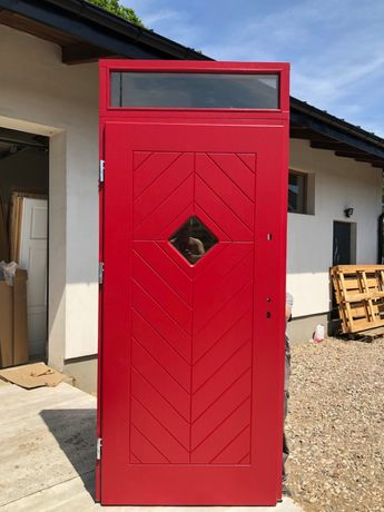 Drzwi dębowe zewnętrzne 7,5cm drewniane wiejskie czerwone