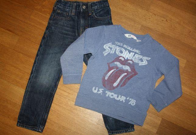 Zestaw spodnie dżinsowe + bluza H&M rozm. 98/104