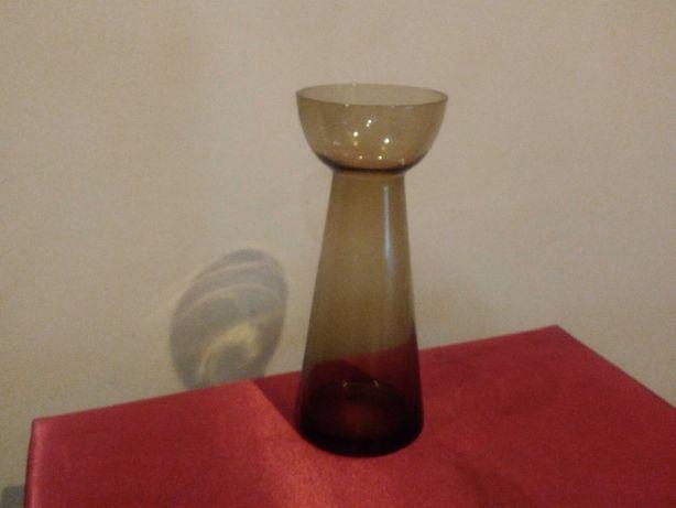Jarra antiga em vidro castanho claro, formato para bolbos, alt. 20 cm