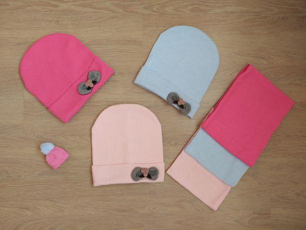 Шапка на флисе 50,52,54. Набор шапка + снуд, шапка +хомут для девочек.