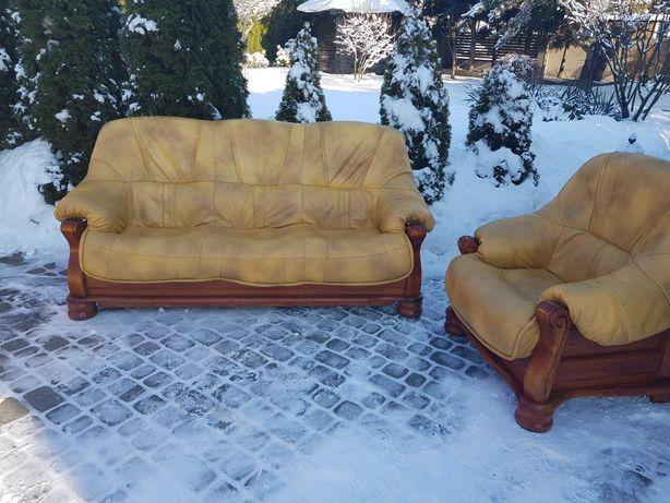 Komplet skórzany zestaw wypoczynkowy sofa fotel