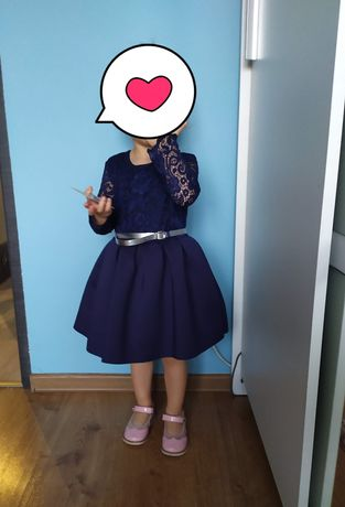 Piękna sukienka, elegancka sukieneczka dla małej damy r. 92
