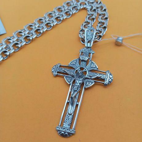 Набор серебряный крестик и цепочка бисмарк