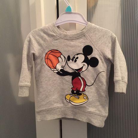 Bluza H&M Disney Miki Mickey Mouse szara dla chłopca myszka rozmiar 68