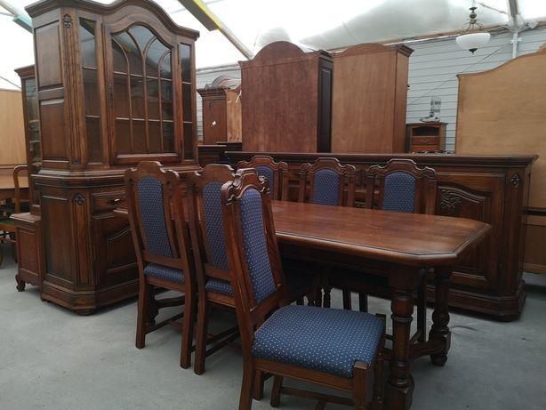 Dębowa jadalnia komoda witryna stół z 6 krzesłami