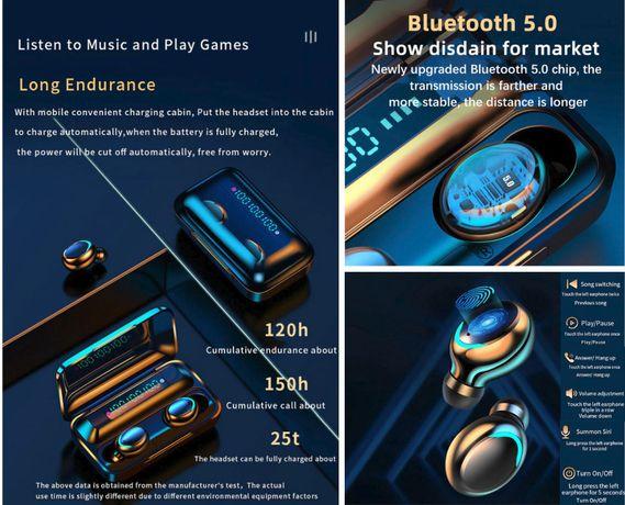 Słuchawki bezprzewodowe stereo, powerbank, czarne, słuchanie muzy do 5