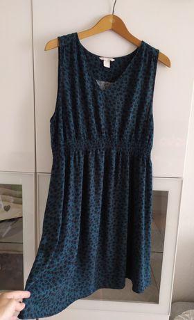 Sukienka ciążowa XL H&M mama zielona lato letnia 42 ubrania kwiaty