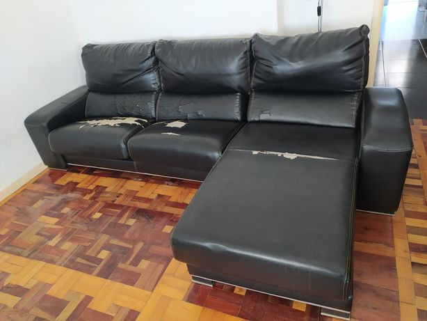 Sofá de 3 lugares + chaise longue para estofar