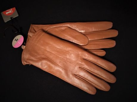 Rękawiczki damskie skórzane beż/jasny brąz