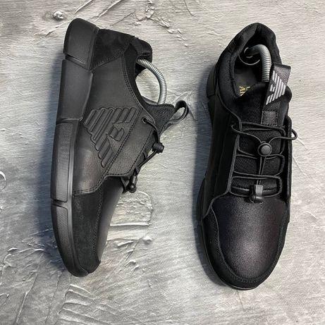 Мужские кожаные кроссовки Армани