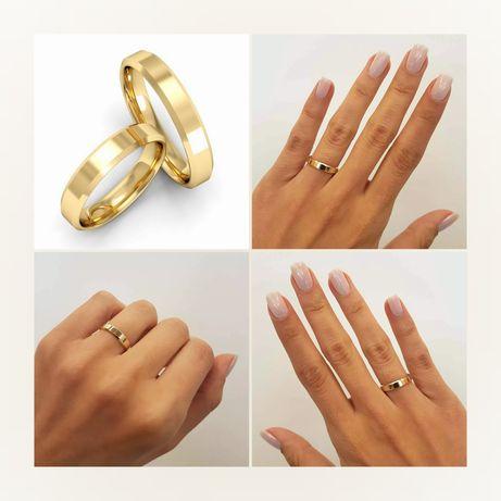Pełna Elegancji Piękna Para Złotych Obrączek Ślubnych