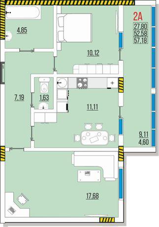 Ак. Глушко, Одесса, продам 2к квартиру 5 эт. 57,18 м. от застройщика.
