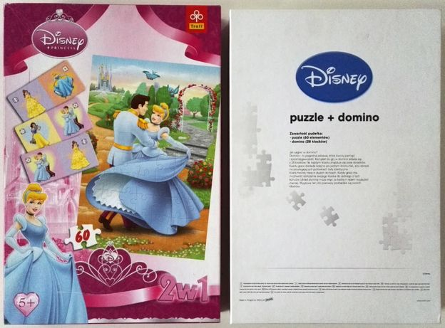 princess disney 2w1 puzzle puzle + domino trefl układanka