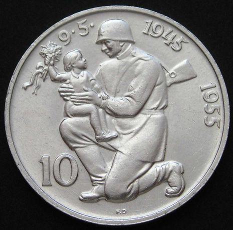 moneta Czechosłowacja 10 koron 1955 - wyzwolenie - srebro - stan 2
