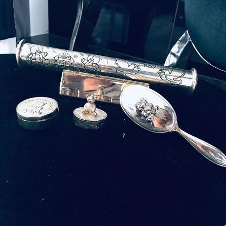 Posrebrzany srebrny komplet na roczek chrzest urodziny