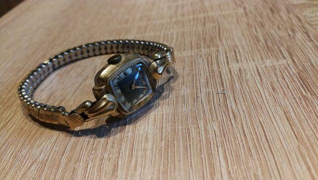 Stary mechaniczny zegarek damski pozłacany