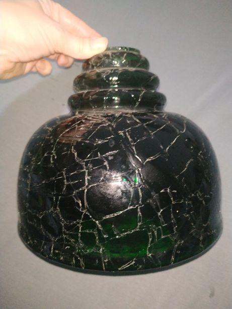 Klosz vintage z zielonego szkła PRL szklany zielony stary