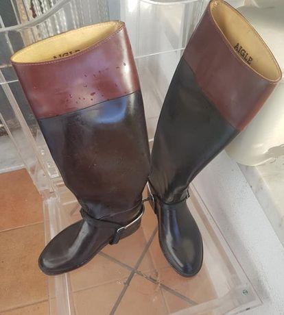 Botas de montar Aigle (original). Em preto e castanho. Nº 37.