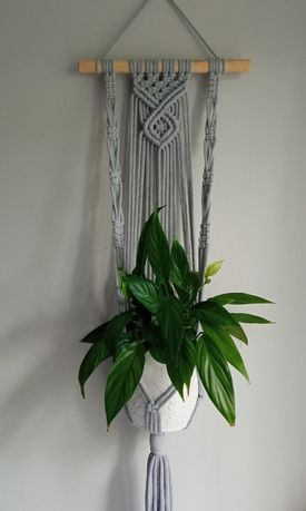 Kwietnik makrama dekoracja