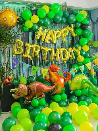 Воздушные фольгирован шары фотозона динозавры декор на день рождения