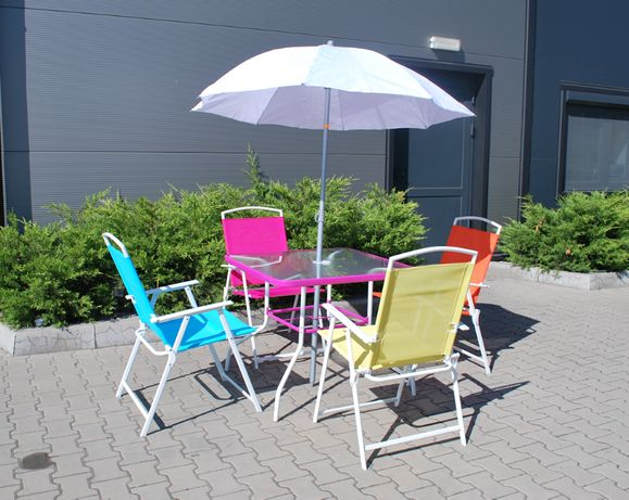 Kolorowy zestaw ogrodowy 4 osobowy stół krzesła + GRATIS parasol