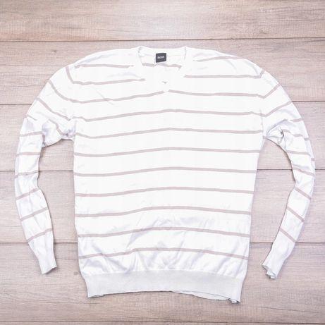 Sweterek HUGO BOSS XXL bialy w paski sweter longsleevee