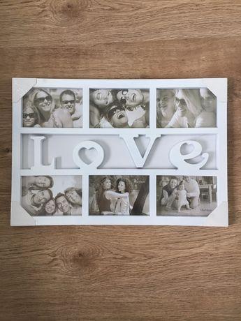 Ramka Ramki biała na 6 zdjęć z napisem LOVE