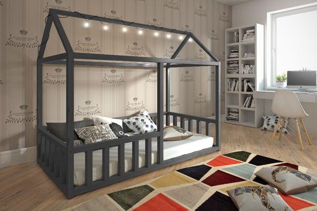Drewniane łóżko Niko domek! Materac gratis! Stylowy domek