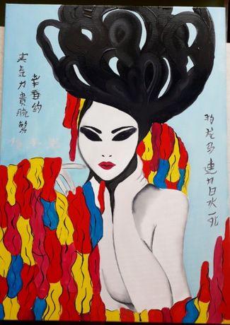 Картина маслом на холсте Гейша Япония