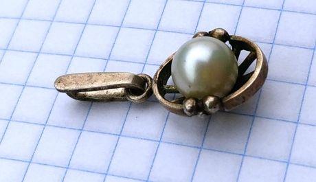Кулон серебро с Жемчугом 875 звезда 7МЮ