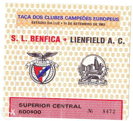 Bilhete Futebol - Benfica - Lienfield 1983 I