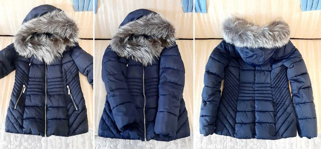 Темно-синий женский зимний пуховик (куртка) с Чернобуркой