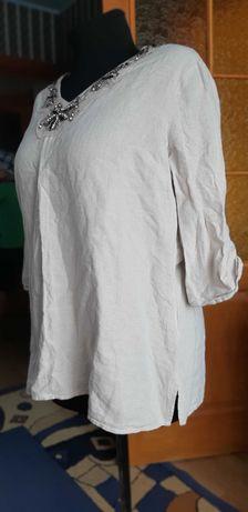 Туника рубашка блузка лен 100% рукав 3,4.с вышивкой 48-50р