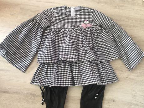 Kids by voga Italia zestaw komplet skorkowe spodnie w krate bluzka