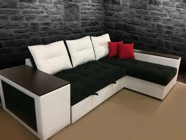 """Угловой диван с пуфами на пружинном блоке """"КАПРИЗ"""", еврокнижка, корпус"""