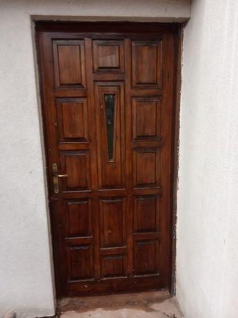 Drzwi drewniane wejściowe zewnętrzne lewe 90