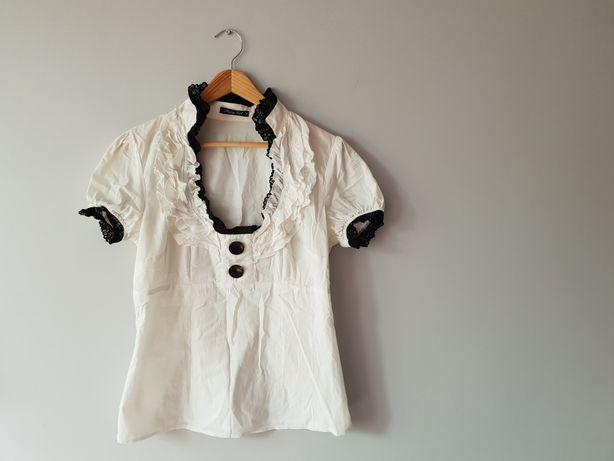 Bluzka Lato biała żabot sexy Pretty Girl M super