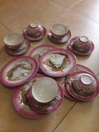 Conjunto de chá dragão chinês