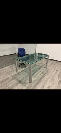 Secretária escritório em vidro e aluminio: 160x80cm