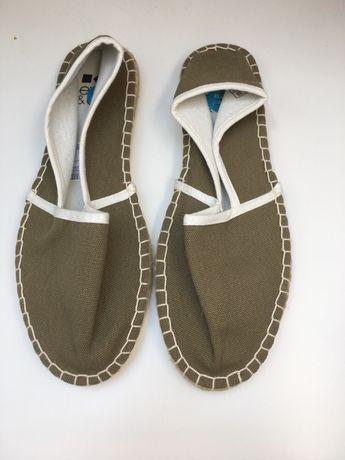buty espadryle khaki białe 39