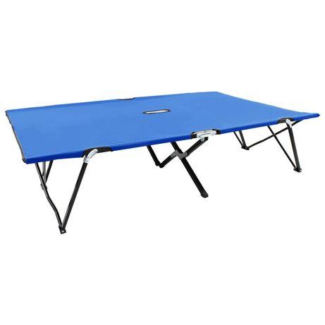 vidaXL Espreguiçadeira/cama dobrável para 2 pessoas aço azul 47759